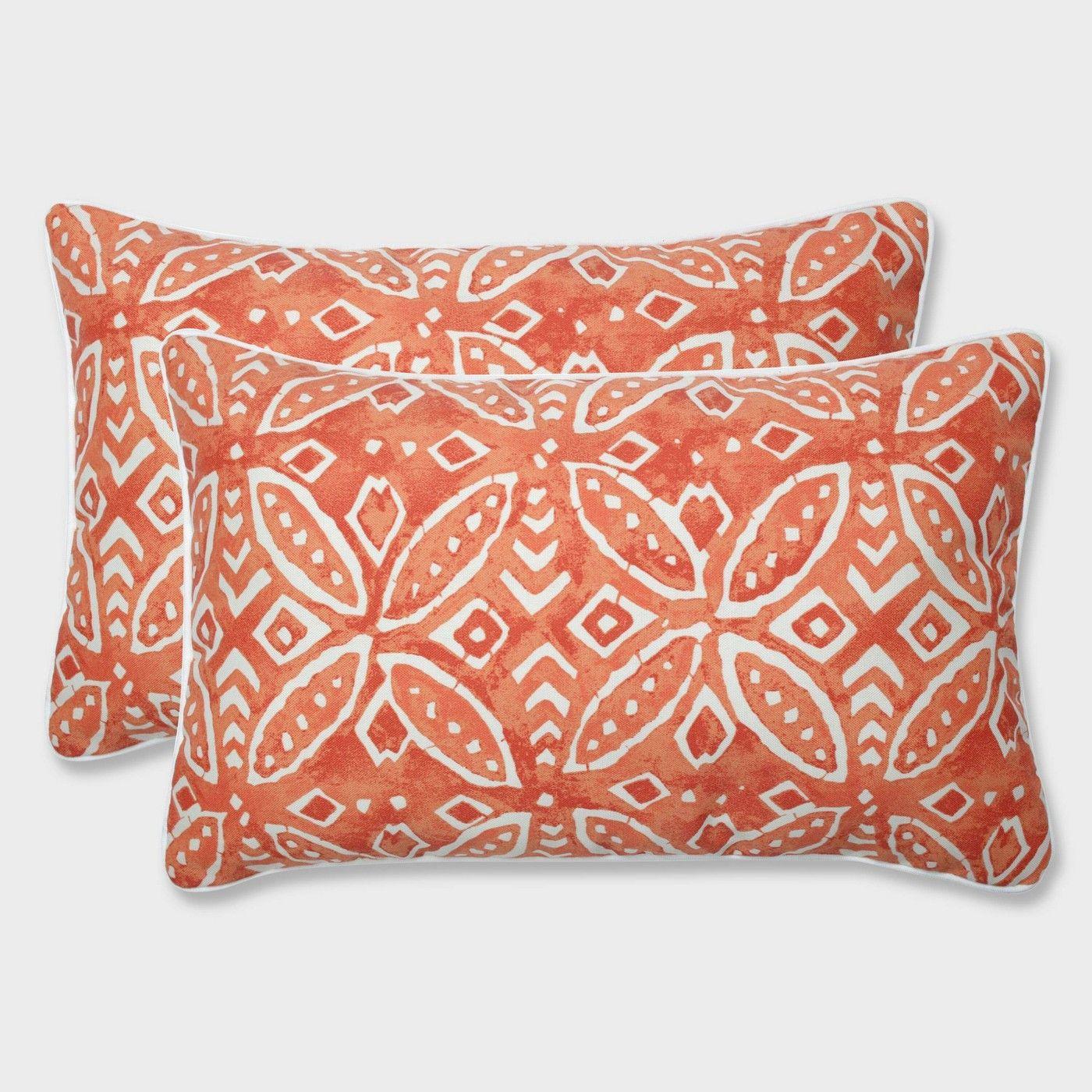 2pk Merida Pimento Rectangular Throw Pillows Orange Pillow