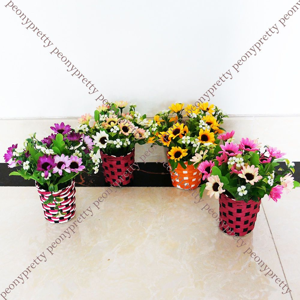 1x Artificial Fake Daisy Flower Plant Straw Pot Home Office Wedding