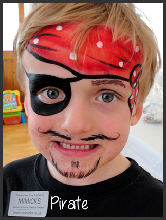 you can add face paint on the eye lids so when he closes his eyes you see eye lids the same color as the eye patch is.