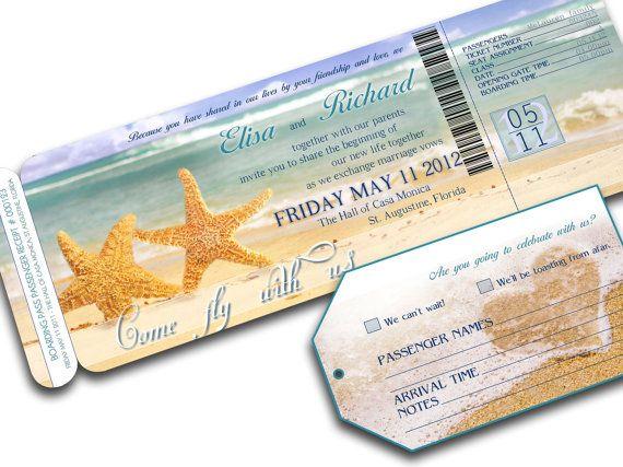 BEACH WEDDING INVITATION Printable Destination Wedding