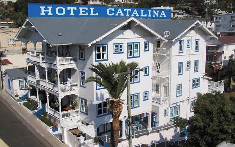 Hotel Catalina's white and blue color scheme is instantly