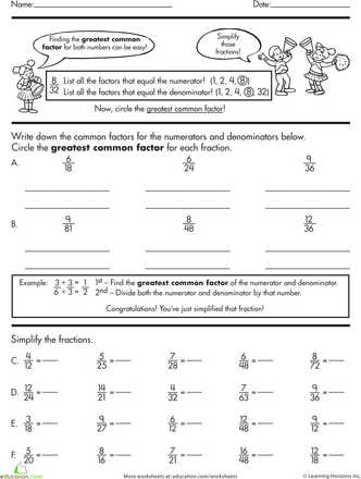 Basic Fractions: Simplyfing Fractions | Math | Fractions worksheets ...