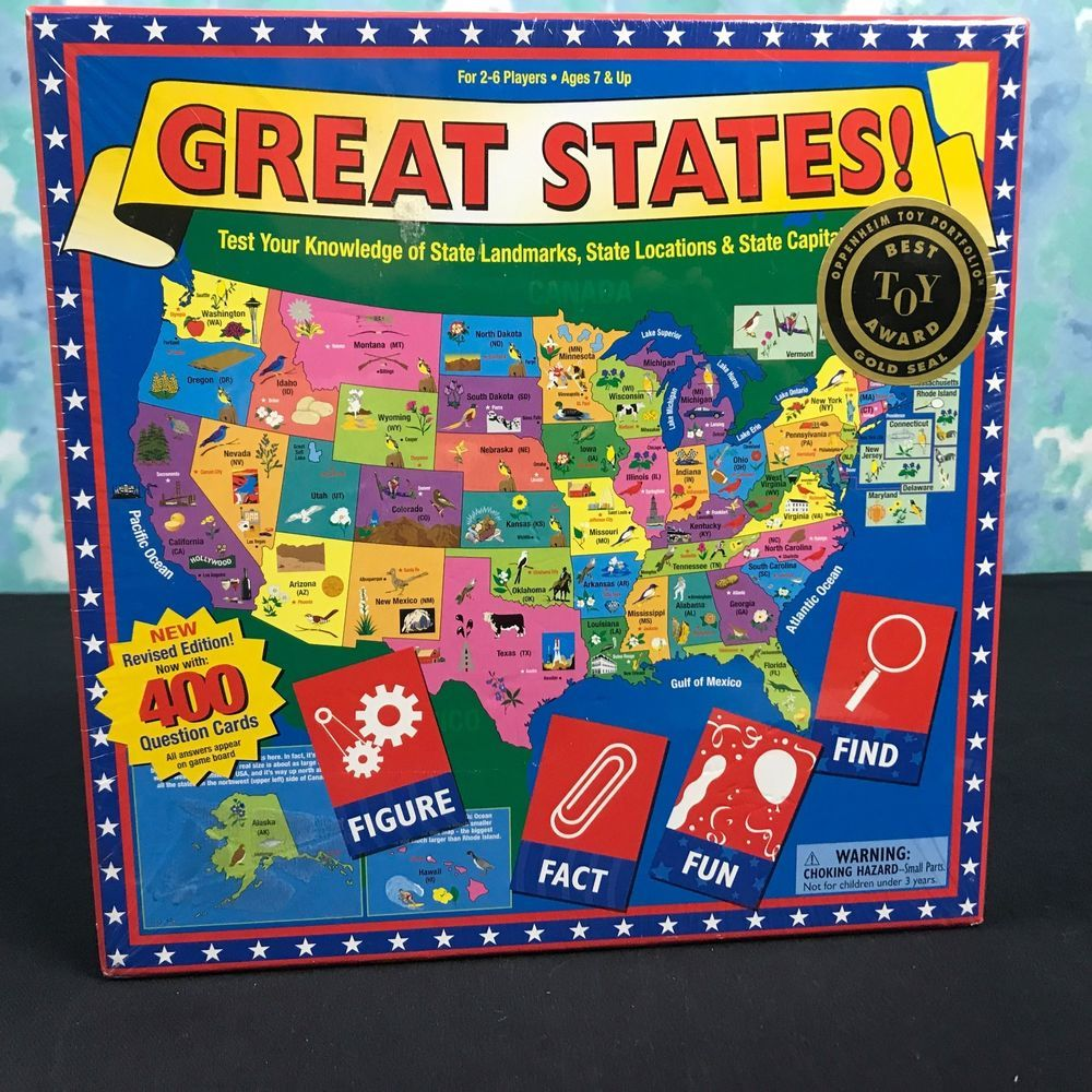 Great States GAME Revised Edition Family Fun Learn Board