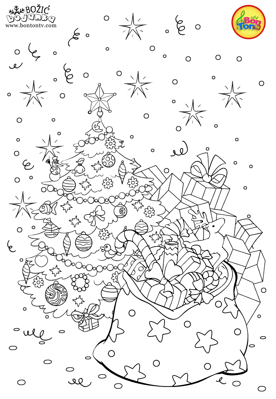 Christmas Coloring Pages - Božić bojanke za djecu - Free Printables for Kids - Christmas Tree, Cookies, Santa Claus and Snowman, Reindeers and more on BonTon TV - Coloring Books #christmas #coloringpages #coloringbooks #printables #božić #bontontv #coloringpagestoprint