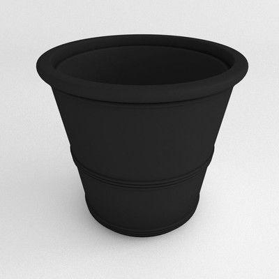 """TerraCastProducts Barrel Round Pot Planter Size: 21"""" H x 25"""" W x 25"""" D, Color: Black"""