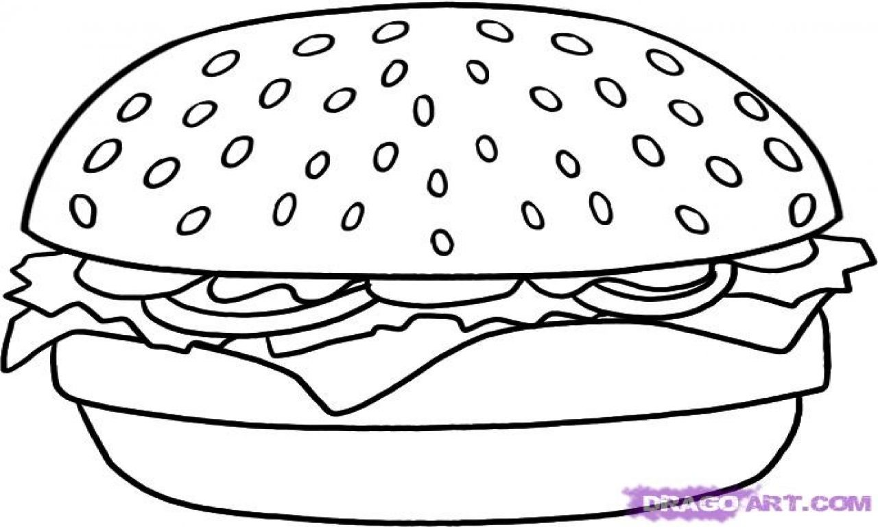 Cheeseburger Coloring Pages How To Draw A Hamburger Step By Step