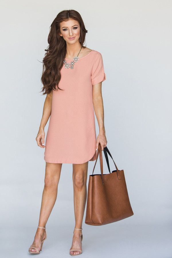 This short sleeve shift dress is the perfect shade of ...