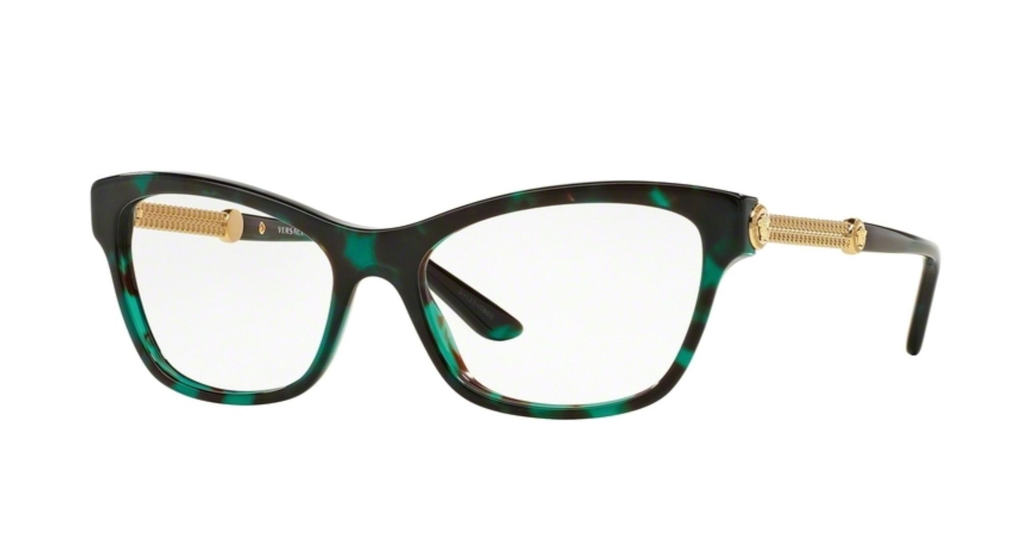 8f6155606d5e Versace VE3214-5076 Green Havana and Gold Eyeglasses - Sale! Up to 75% OFF!  Shop at Stylizio for women's and men's designer handbags, luxury  sunglasses, ...
