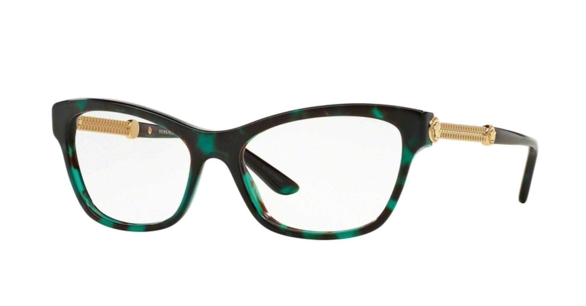 dec1cd5e3290b Versace VE3214-5076 Green Havana and Gold Eyeglasses - Sale! Up to 75% OFF!  Shop at Stylizio for women s and men s designer handbags