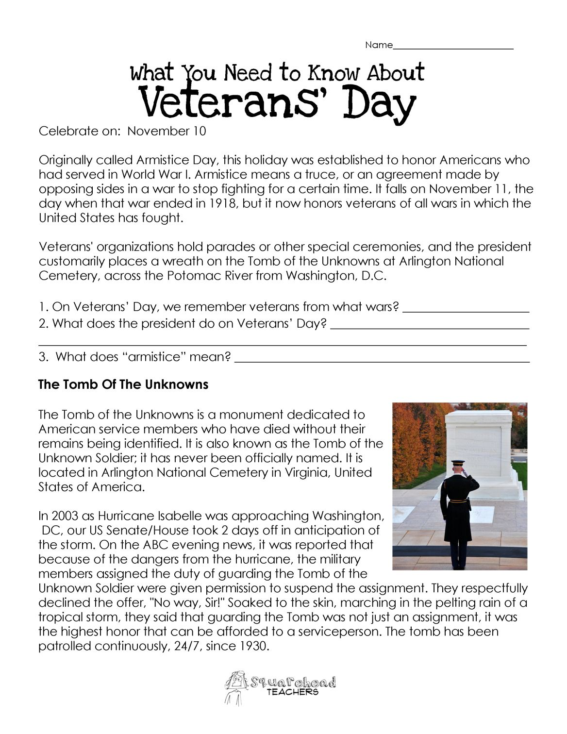 Veterans Day Worksheet Updated