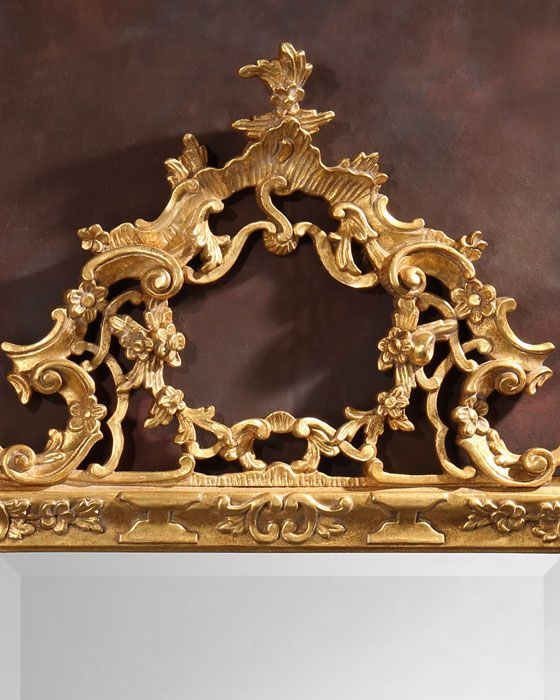 18th century style carved wood mirror with antiqued goldleaf finish and beveled glass, made in Italy | Italian mirrors | hand carved mirrors