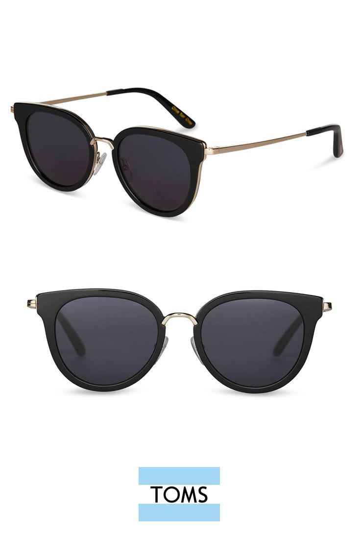 7690afb4e3e Oversized flat-lens cat-eye frames. Shiny Black Rey Sunglasses from TOMS  add just the right amount of drama to your sunny day look.