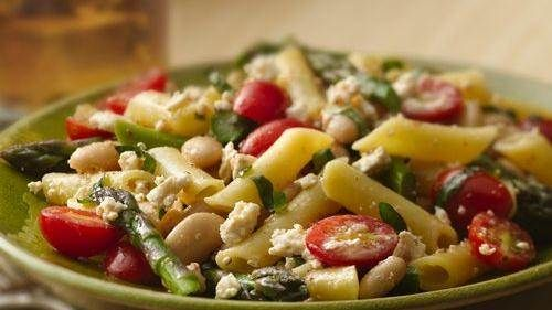 gluten free basil penne with asparagus and feta