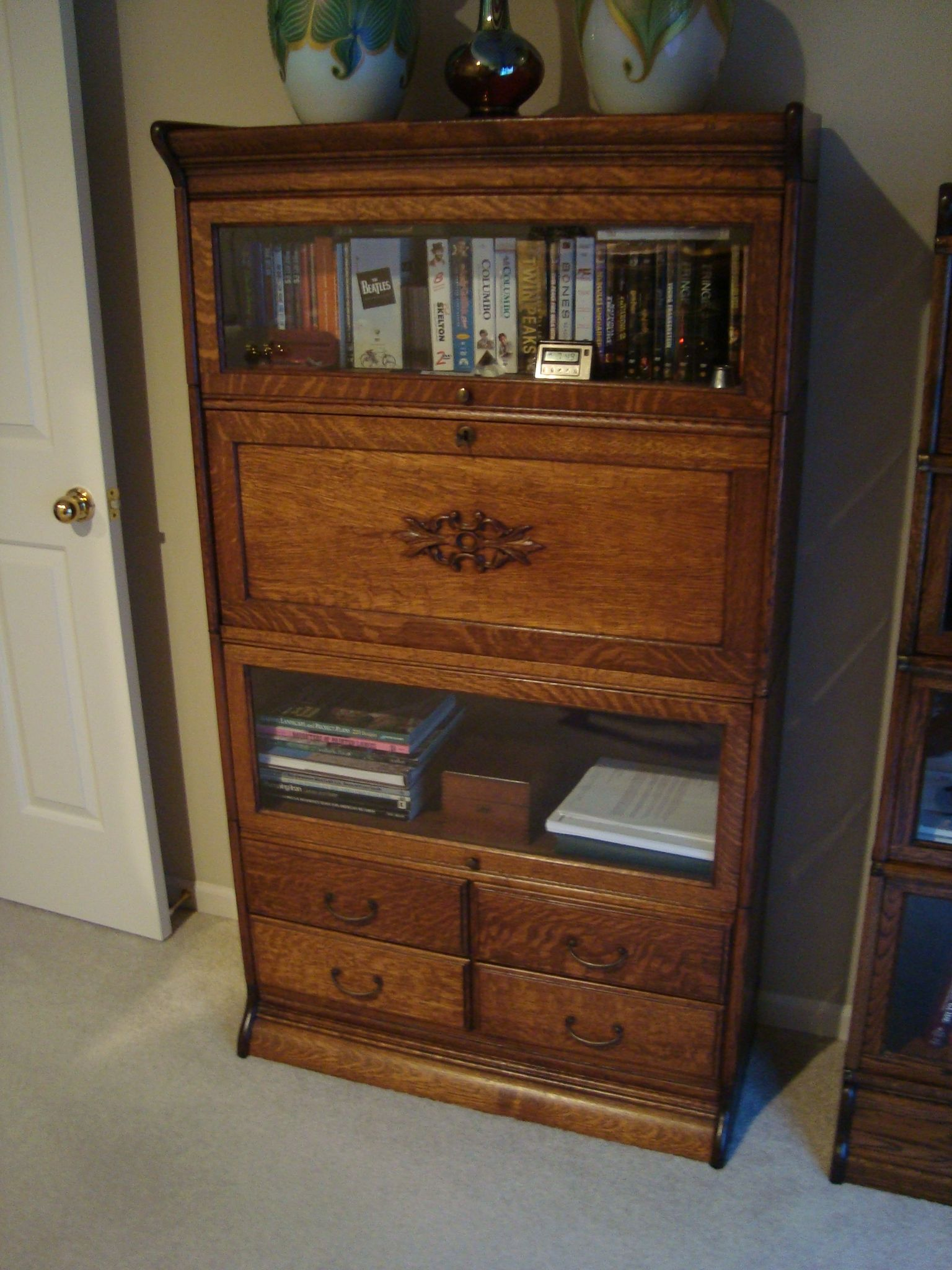 Gunn stacking bookcase with desk section and four drawer section