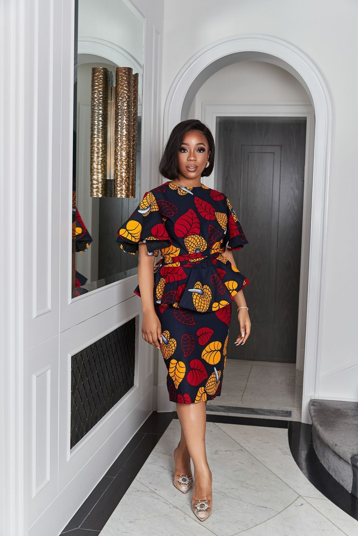 African Print Kalifa Midi Skirt
