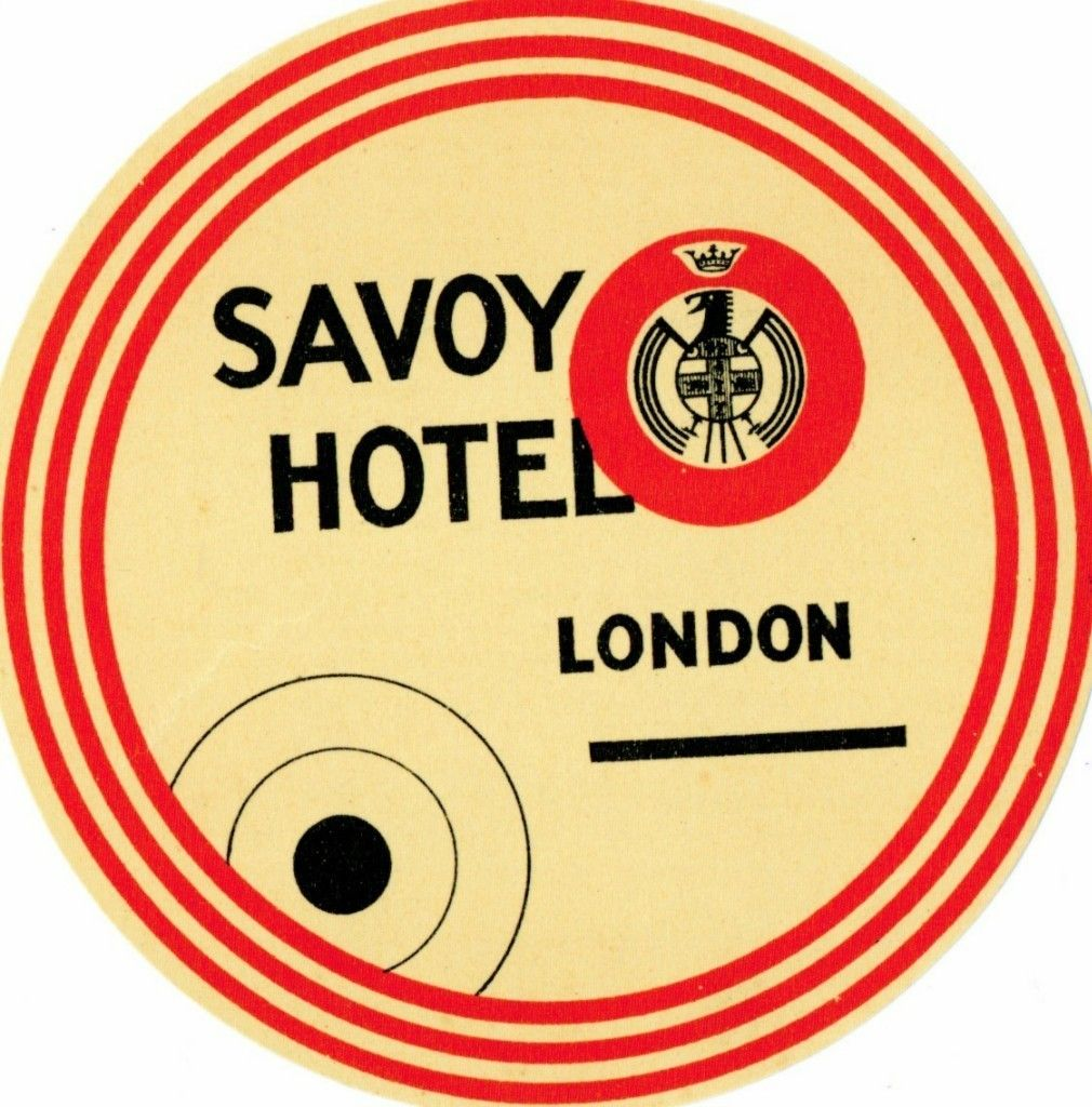 Vintage Hotel Luggage Label, Savoy Hotel, London, UK | Advertising ...