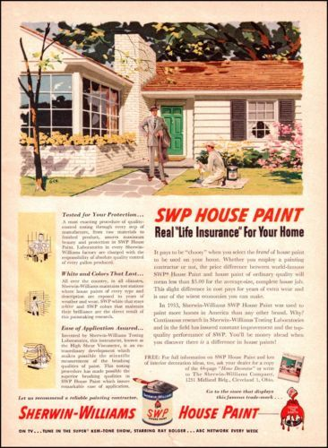 1954 Sherwin Williams House Paint Old Paint Ad 1950s Illustrated by - House Advertisements