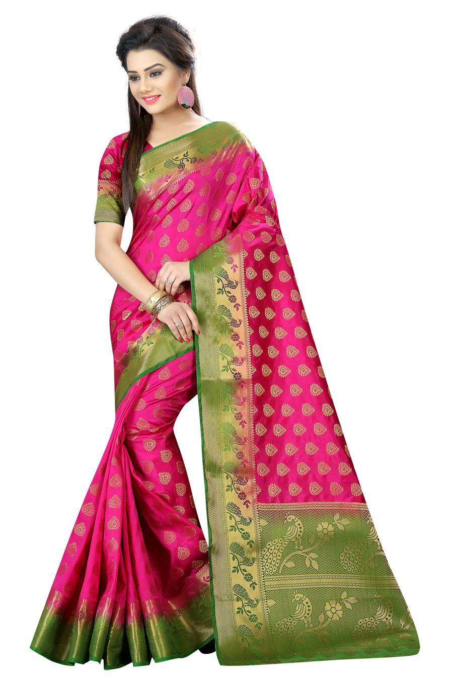 Indian Silk Sari Designer Wedding Party wear Ethnic Trendy Cultural Saree Blouse