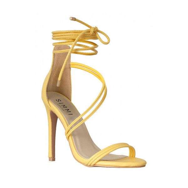 Nada Yellow Lace Up Heels : Simmi Shoes (£30) ❤ liked on Polyvore featuring shoes, pumps, yellow shoes, yellow pumps, laced shoes, lace up shoes and lace up pumps