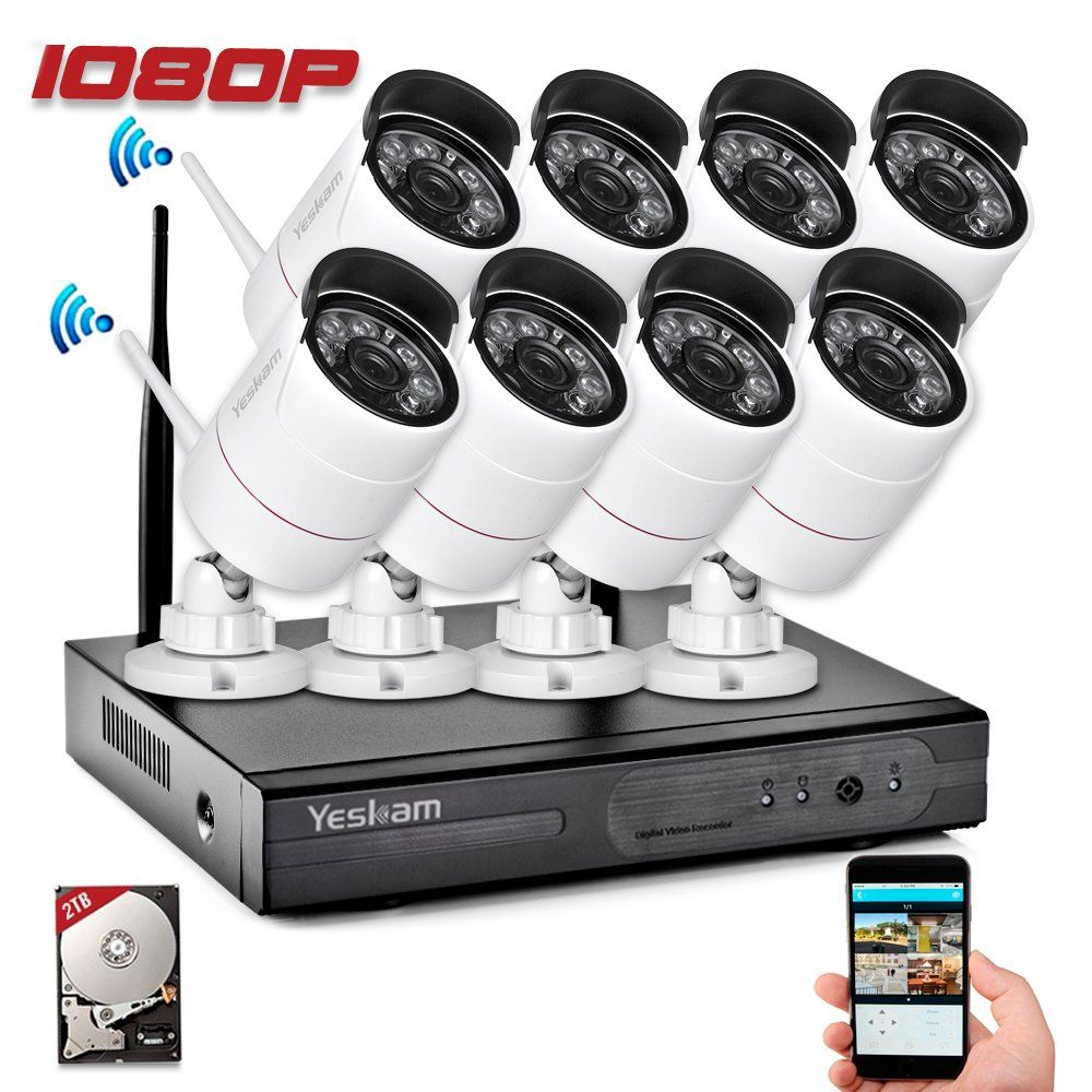 Yeskam Outdoor Wireless Home Security Camera System 1080P 8 ...