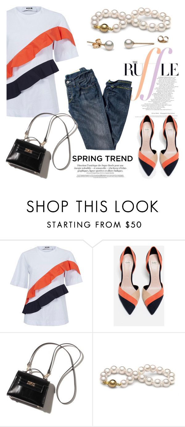 """""""Spring!"""" by pearlparadise ❤ liked on Polyvore featuring MSGM, Zara, ruffles, contestentry, pearljewelry, spring2016 and pearlparadise"""