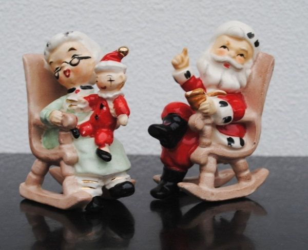 Rare Lefton Santa Claus Salt Pepper Shakers, 8139 St Nick & Mrs Claus in Rocking Chairs Collectible Set