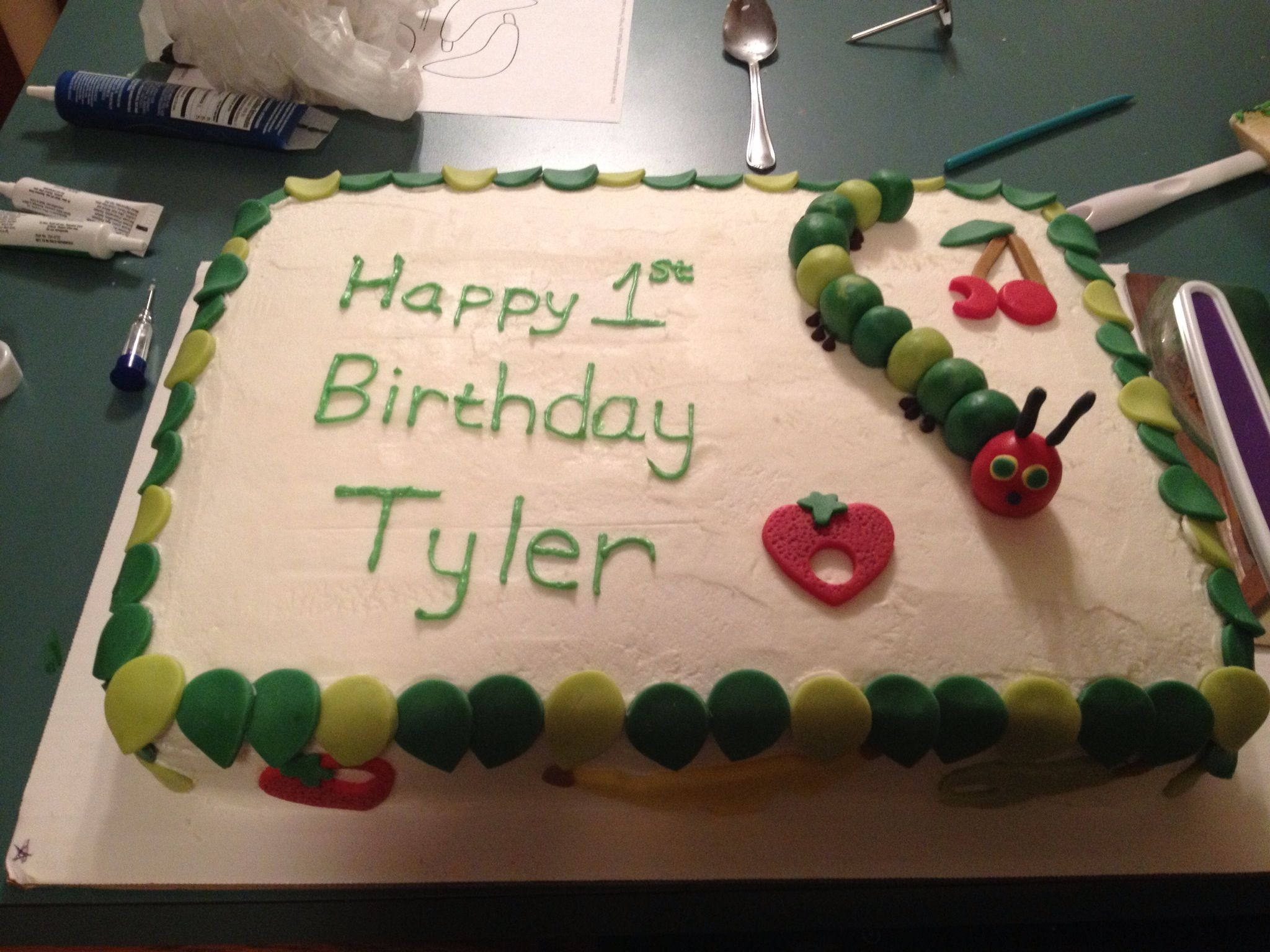 Hungry Caterpillar bday cake