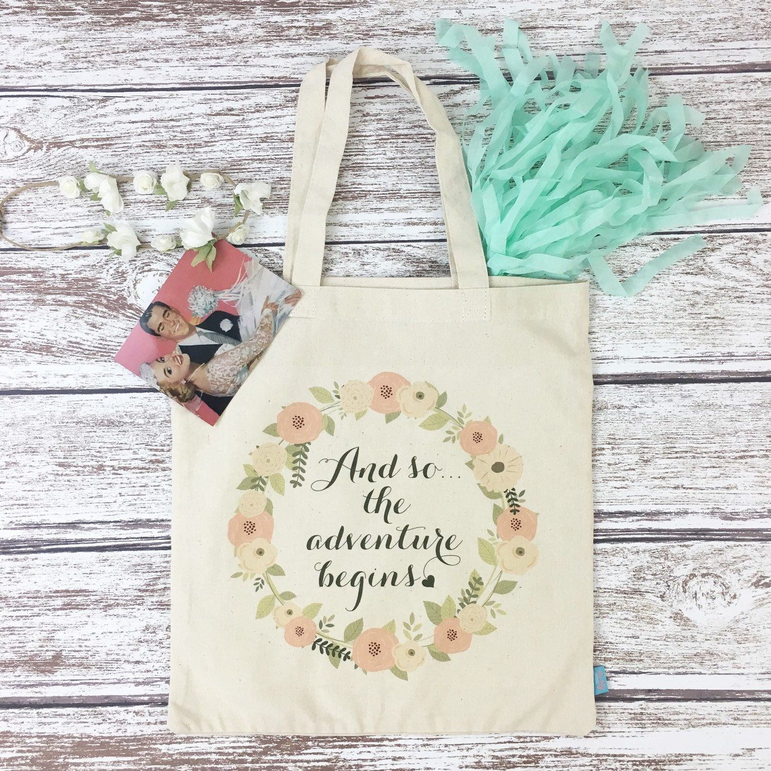 And So The Adventure Begins Personalized Totes- Wedding Welcome Tote ...