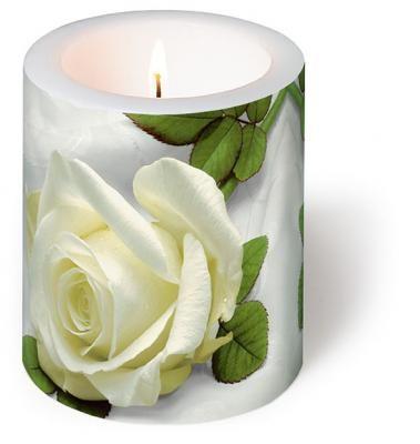 Dekorkerze Hochzeit weiße Rosen Höhe 10cm - Servietten Versand Tischdeko Kerzen OnlineShop