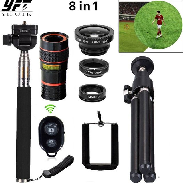 8in1 12X Zoom Camera Telephoto Lens Phone Telescope 3in1