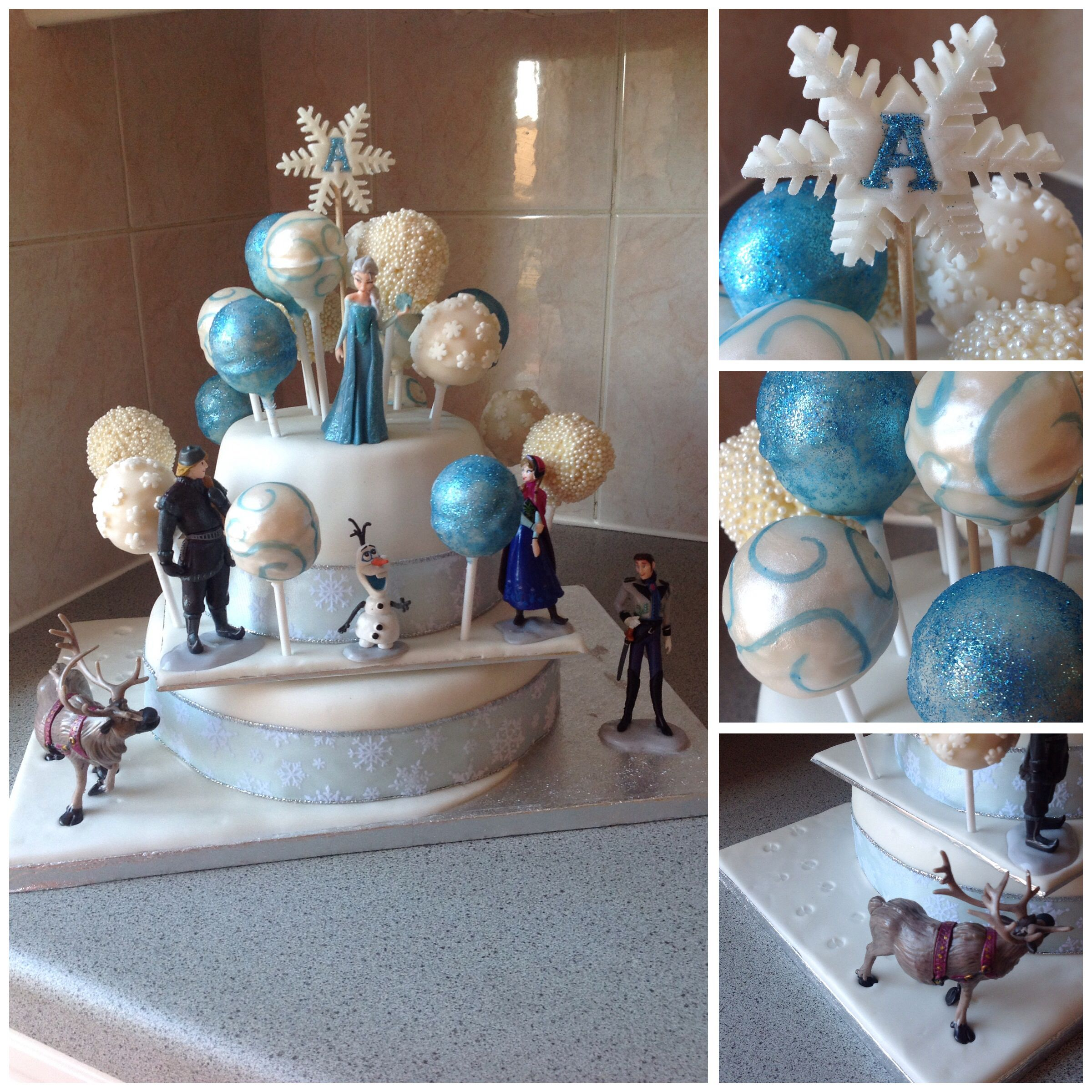 Frozen Cake-Pop Cake (With plastic figurines)