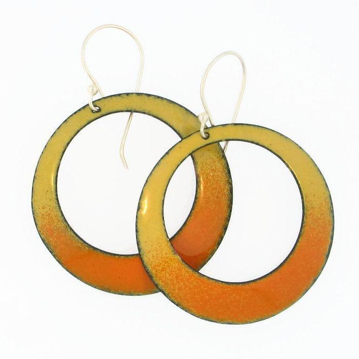 Large Yellow/Orange Enamel Hoop Earrings