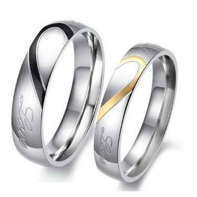 de amistad anillos de plata//negro grabado Valentin Alianzas anillos de pareja