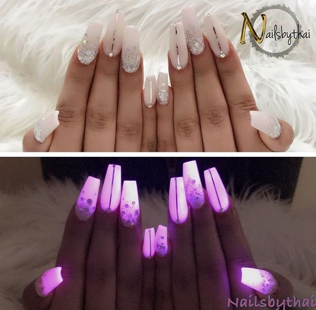 Glow In The Dark Nails Glow Nails Birthday Nails Neon Acrylic Nails