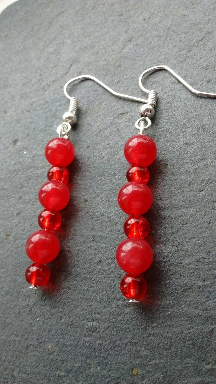 Bright Red Earrings, Vibrant Red Earrings, Cherry Red Earrings ...