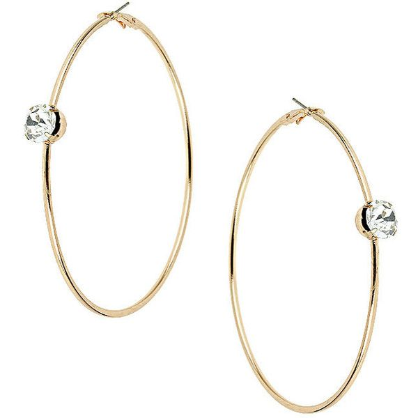 Top Large Gold Rhinestone Hoop Earrings 4 46 Liked On Polyvore Featuring Jewelry