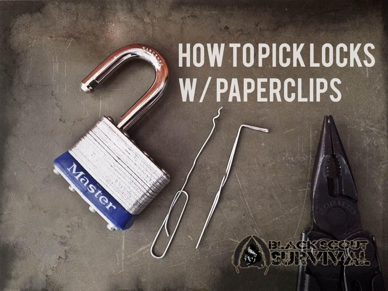 Pick locks with paperclips diy pinterest survival locks and a dog