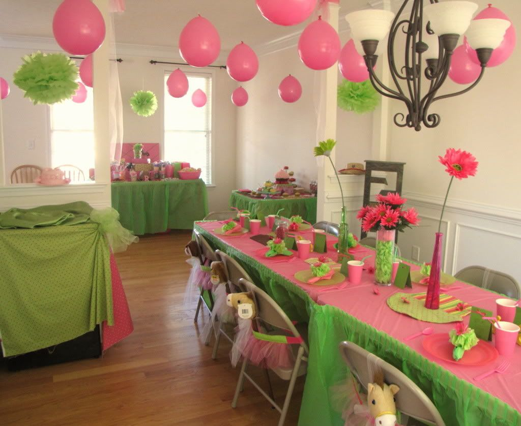 Birthday Party with BubbleGum Pink Lime Green colors GOod