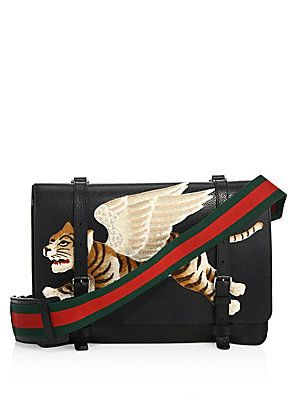 4cdbabf9fb9f 2490 Gucci Leather Messenger Bag with Tiger Appliqué | Jamil | Black ...