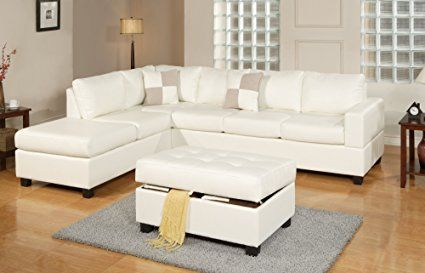 bobkona soft touch reversible bonded leather match 3 piece sectional sofa set white kitchen dining