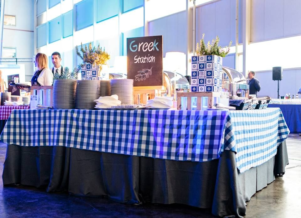 Greek station buffet Table decorations, Corporate events