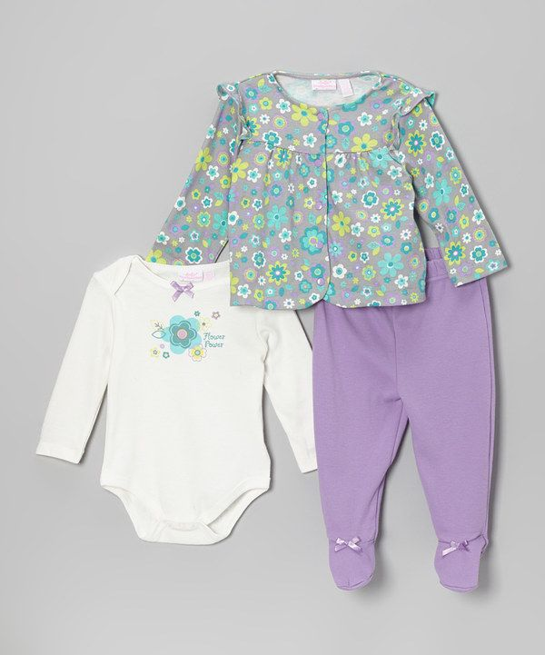 Another great find on #zulily! Baby Headquarters Gray & Lime Flower Blossom Cardigan Set - Infant by Baby Headquarters #zulilyfinds