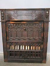 Vintage Industrial  Antique Japanned Finish Copper Fireplace Monks Gothic A & C