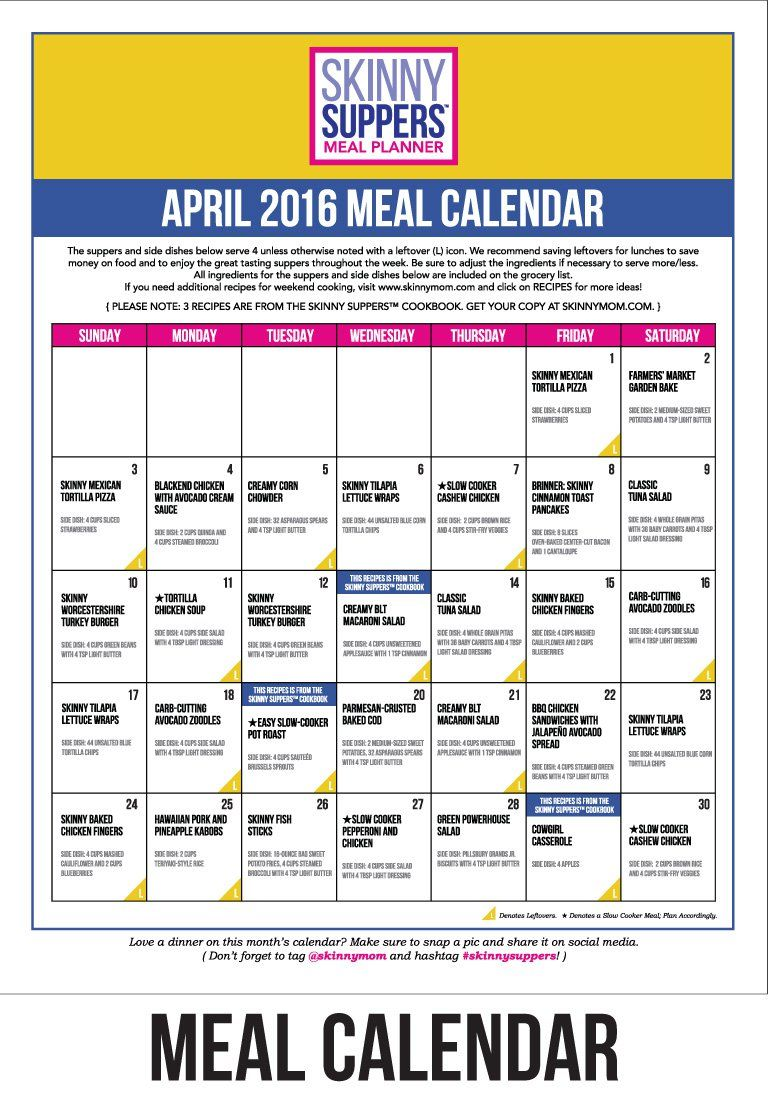 Meal Calendar  Gege    Meal Calendar Meals And Skinny Mom