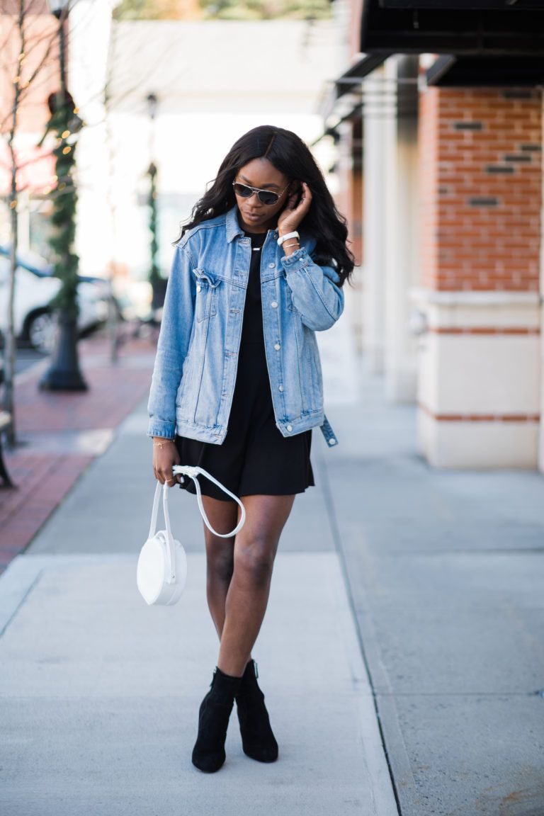Oversized Jean Jacket With Black Dress And Ankle Boots Dress With Jean Jacket Denim Fashion Fashion [ 1152 x 768 Pixel ]