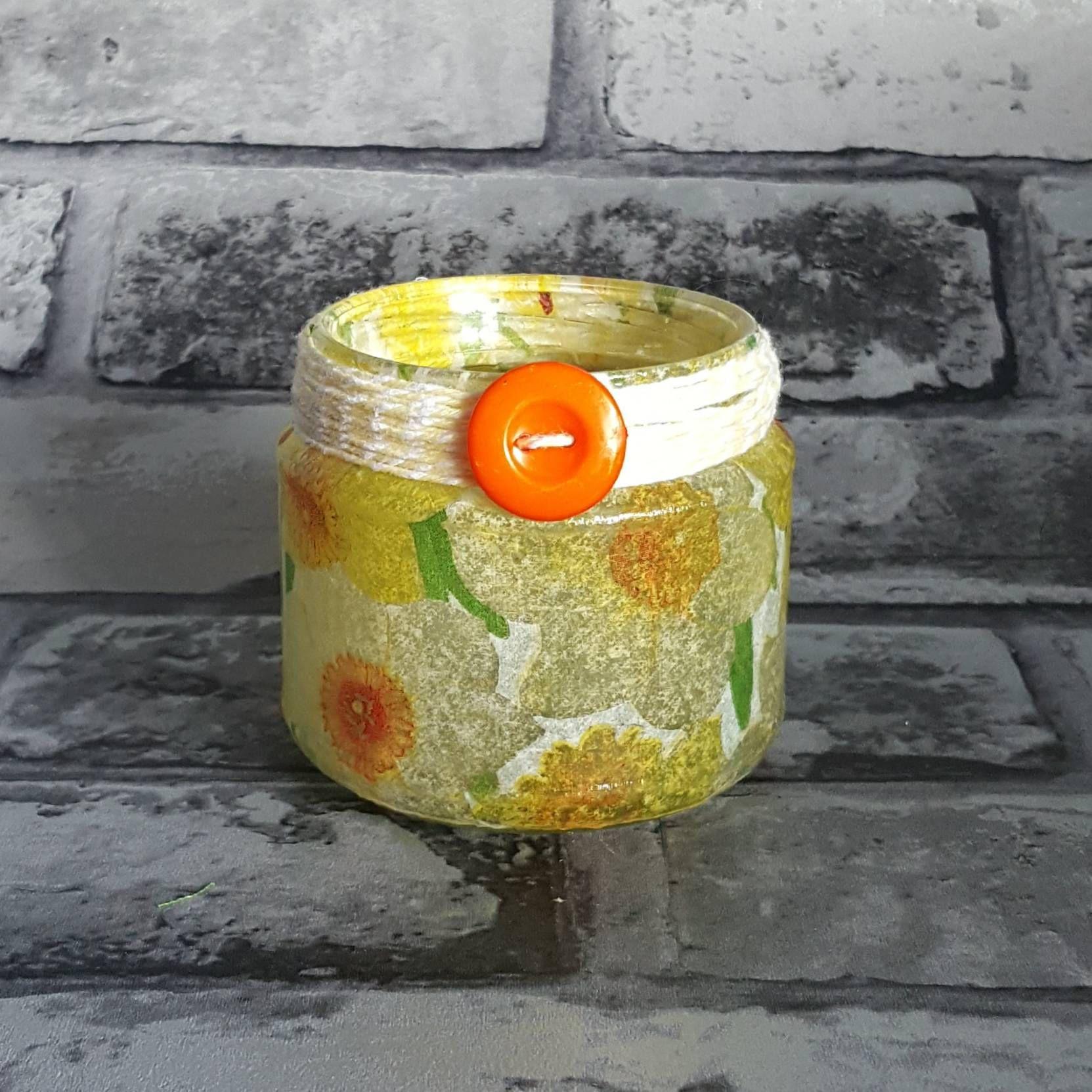 Daffodil jar jar light upcycled nightlight rustic lighting pen