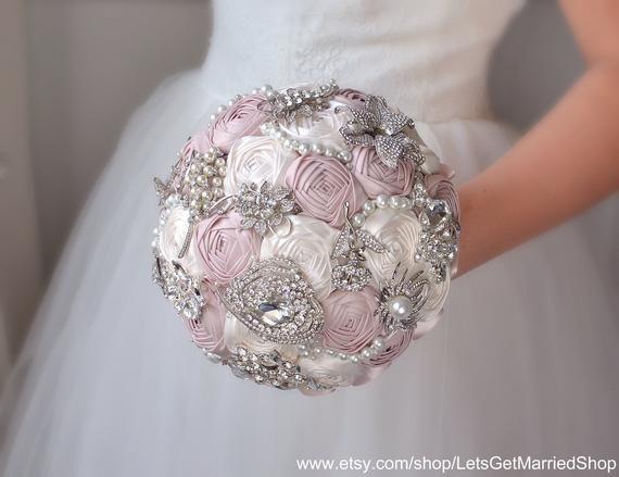 Blush Pink Brooch Bouquet Roses Wedding Pearl Ivory Crystal Bridal