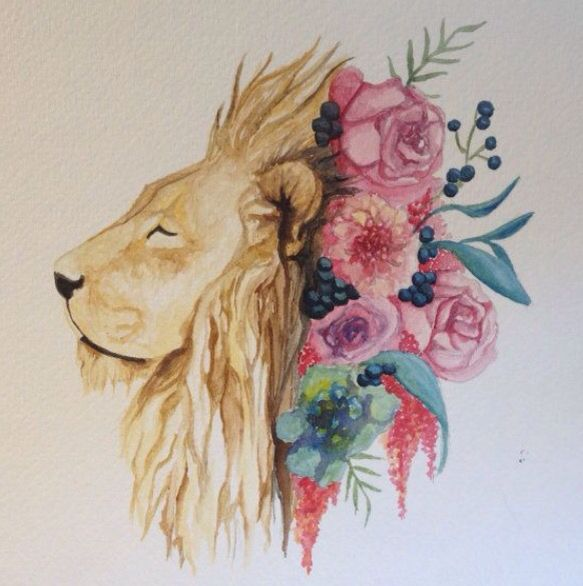 Lion Starsign And Flowers Inspirational Tattoos Watercolor Lion