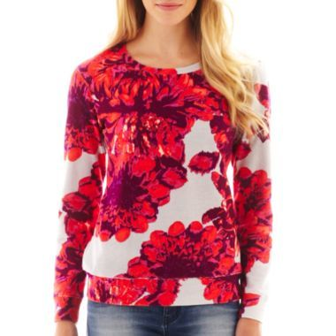 a.n.a® Long-Sleeve Floral Sweatshirt   found at @JCPenney
