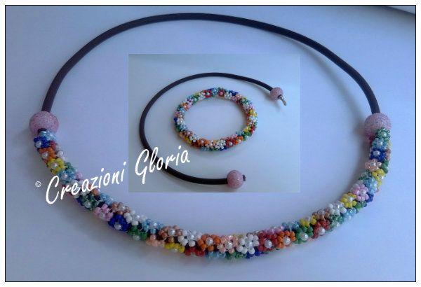 Tutorial necklace bracelet flowers